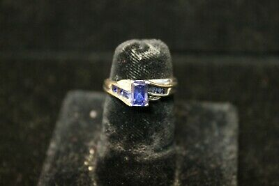 10K White Gold Sapphire Ring with Small Diamond Accents