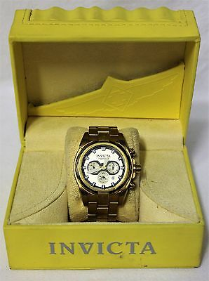 Invicta 1338 Speedway Stainless Steel Gold Tone Chronograph Watch