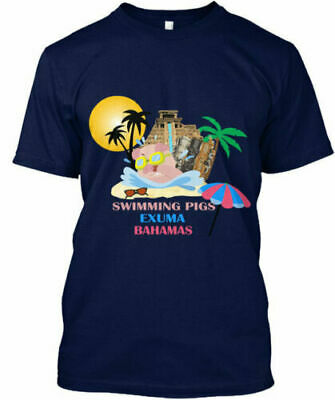 The Swimming Pigs Of Exuma Bahamas Cool Beach Style T-Shirt Gift S-3XL