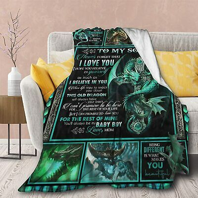 Dragon To My Son I Love You Forever Gift From Mom Blanket Birthday Sons Gift