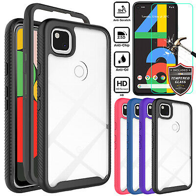 For Google Pixel 4a4a 5G Shockproof Clear Case Cover  Tempered Glass Protector