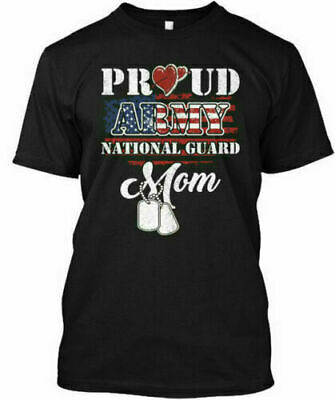 Proud Army National Guard Mom Usa Heart Gift Birthday T-Shirt To Mother S-3XL