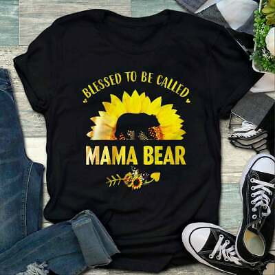 Blessed To Be Called Mama Bear Sunflower Gift Birthday T-Shirt For Women S-3XL