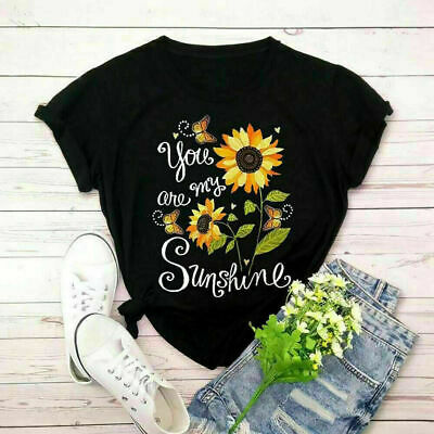 Womens T-Shirt You Are My Sunshine Sunflower Gift Christian Cool Style T-Shirt
