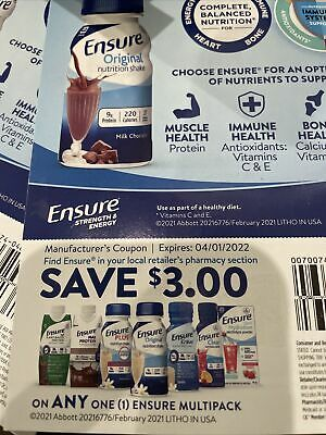 Ensure Nutrition Shake manufacture's coupon SAVE 3 Each 13 Coupons EXP 4-22