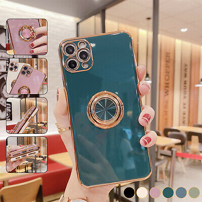 Magnetic Plating Ring Holder Case For iPhone 12 Pro Max 11 XS XR 8 7 Stand Cover