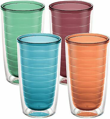 Tervis Clear - Colorful Insulated Tumbler 16oz - 4 Pack - Boxed Assorted-NEW