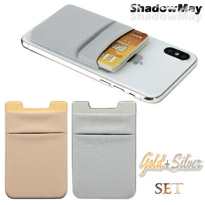 2xTwo Pockets Cell Phone Credit Card Holder Wallet Sticker Adhesive for Key Cash