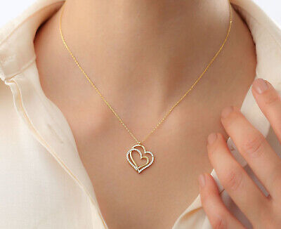Sterling Silver Double Heart Necklace With Zircon Crystals Mother's Day