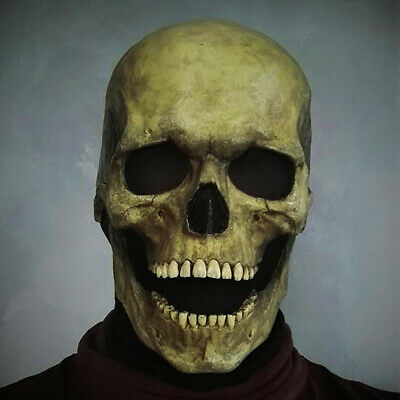 Full Head Skull Mask Helmet With Movable Jaw Halloween Cosplay Party Prop