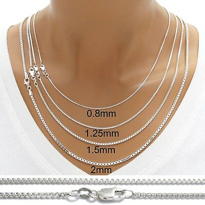 925 Sterling Silver BOX Chain Necklace w Lobster Lock-Stamped 925 Italy