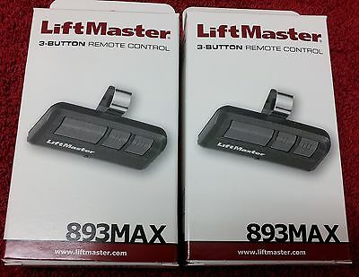 893MAX Liftmaster 2-PACK Universal THREE Button Remote 315mh 390mh Security- 2-0