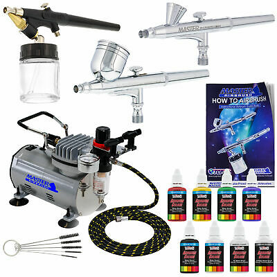 New 3 Airbrush Kit 6 Primary Colors Air Compressor Dual-Action Hobby Set