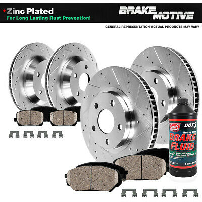 Front-Rear Brake Rotors And Ceramic Pads For 2005 2006 2007 - 2010 Ford Mustang