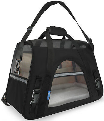 Pet Carrier Soft Sided Large Cat  Dog Comfort Black Travel Bag Airline Approved