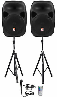 Rockville RPG122K Dual 12 Powered Speakers Bluetooth-Mic-Speaker Stands-Cables