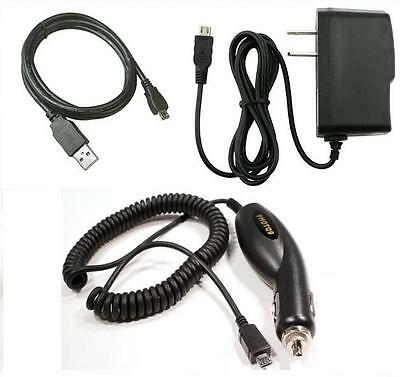 Car-Wall AC Charger-USB Cable for ATT Samsung Rugby 2 A847 Rugby 3 III SGH-A997