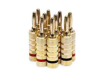 Monoprice High-Quality Gold Plated Speaker Banana Plugs - 5 Pairs - Closed Screw