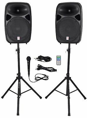 Rockville RPG152K Dual 15 Powered Speakers Bluetooth-Mic-Speaker Stands-Cables