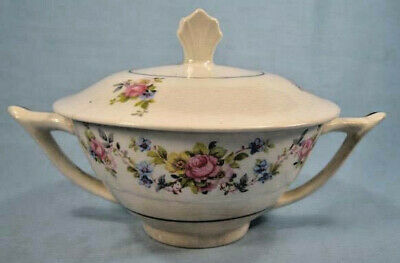 Price Aristocrat Sugar Bowl - Lid Pink Roses Flowers C C Co Colclough O3 AS IS
