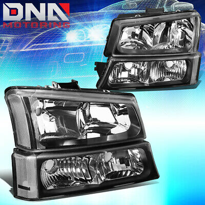 FOR CHEVY SILVERADO 2003-2006 EURO BLACK HOUSING CLEAR CORNER-BUMPER HEADLIGHTS