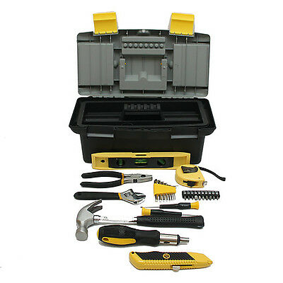Houseowner 27-Piece Home Tool Box Set with 2 Latches and Removable Tray  GT5017
