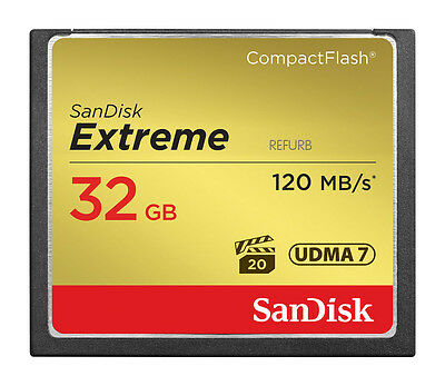 SanDisk 120MBs Extreme S 32GB CompactFlash CF Memory Card SDCFXS-32G 32 GB