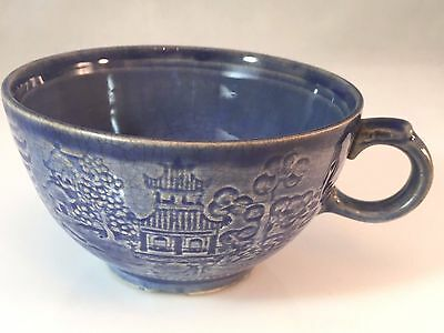 Vintage Paden City Pottery Blue Willow in Relief Footed Teacup Embossed