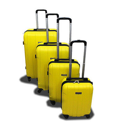 New Generic 4PCS Luggage Travel Set Bag ABS Trolley Suitcase w Lock Yellow