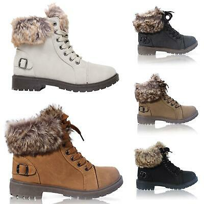 WOMENS LADIES FAUX FUR GRIP SOLE WINTER SNOW WARM ANKLE BOOTS TRAINERS SHOES