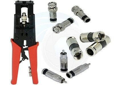 Universal Coax Compression Crimping Tool for RCA RG6 RG59 F BNC Cable