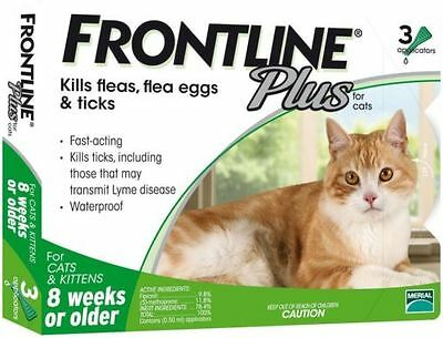 3 Doses Genuine Frontline Plus For CATS 3 Month Supply Cat Flea - Tick Remedy