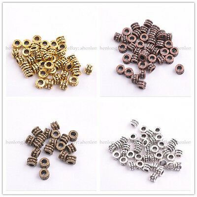 50100PCS Tibetan Silver Spacer Beads For Jewelry Making 6X4MM E3086