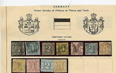 GERMANY THURN - TAXIS NOTHERN STATES STAMP COLLECTION FROM ESTATE STARTS 1-99