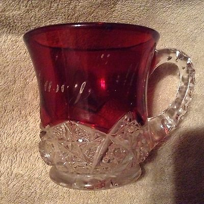 Vintage Ruby Red Flashed Souvenir Casey Illinois Handled Cup Mug
