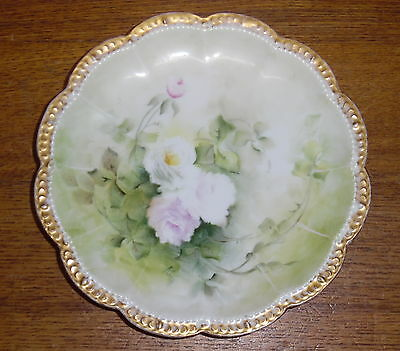 Hand Painted Theodore Haviland Limoges France Porcelain Plate - Roses - 7 12
