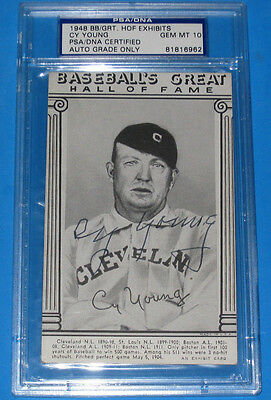 CY YOUNG AUTOGRAPHPSA  DNA 10 GEM MINT-1948 HOF EXHIBITS AUTO CARD