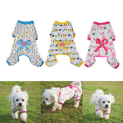 Dog Stripes Pajamas Coat Cat Puppy Cozy Clothes Clothing Apparel for Small Pet F
