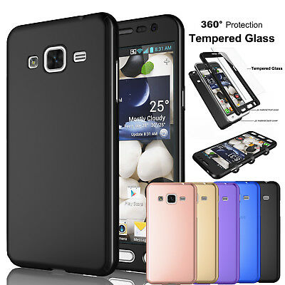 Samsung Galaxy J3 Sky 360°Protective Case Cover -Tempered Glass Screen Protector