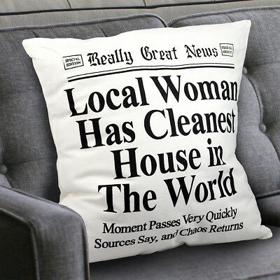 Mother's Day Gift for MOM Decorative Throw Pillow - Cotton Cover Funny Newspaper