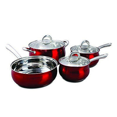 Oster 7-Piece Verdone Cookware Set Stainless Steel with Metallic Red Exterior