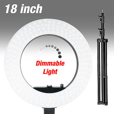 Bright 18 Dimmable Photo Video Continuous Ring Light Kit Stand wCarry Bag