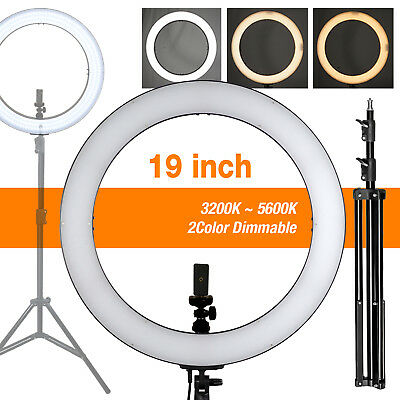 SMD LED 18 Ring Light Dimmable 5500K Continuous Lighting Photo Video Stand Kit