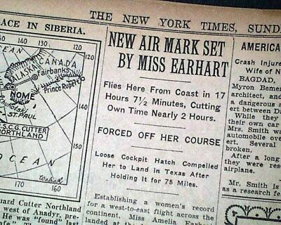 AMELIA EARHART Transcontinental Airplane Flight Speed Record 1933 Old  Newspaper