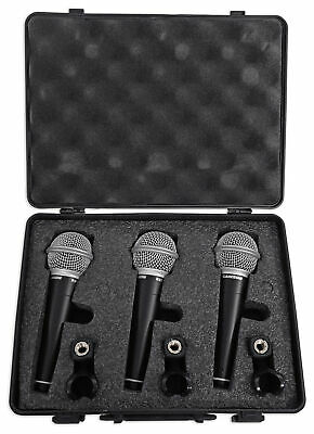 Samson R21 3-Pack Dynamic Vocal Cardioid Handheld Microphones-Mic Clips-Case