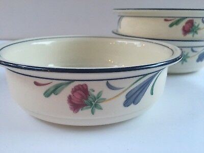 Lenox Poppies on Blue Set of 3 Soup Cereal Bowls 6 14