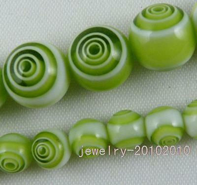 25pcs Glass Green Circle Round Spacer Beads 8mm