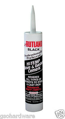 RUTLAND 2000 deg Black Hi-Temp Stove - Gasket Cement 10-3 oz- cartridge NEW