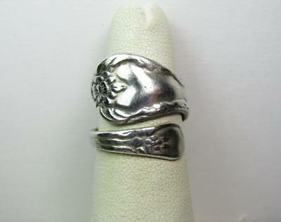 Sterling Silver 925 Vintage Estate Ladies Jewelry Flower Spoon Ring Size 6