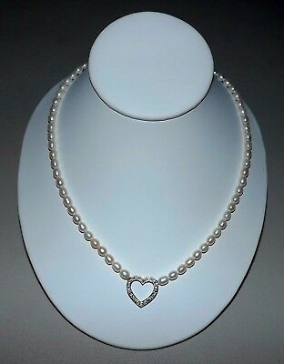 STERLING SILVER Genuine DIAMOND Heart Pendant - 18 Pearl Necklace - GORGEOUS